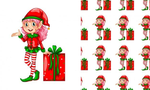 Modello senza cuciture per carta da parati, con elfo e scatola regalo