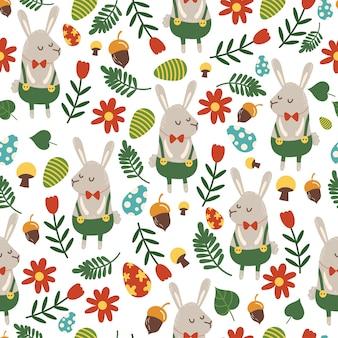 Modello senza cuciture per il tema di pasqua con coniglietto simpatico cartone animato e fiori, uova e fogliame.