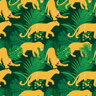 Modello senza cuciture piatto disegnato a mano con leoni