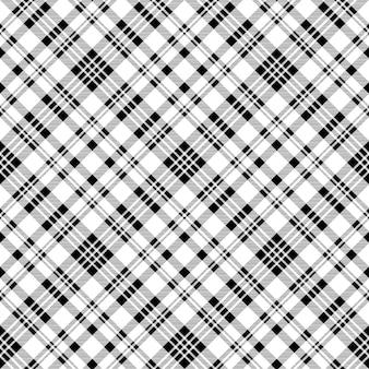 Modello senza cuciture plaid check bianco nero diagonale
