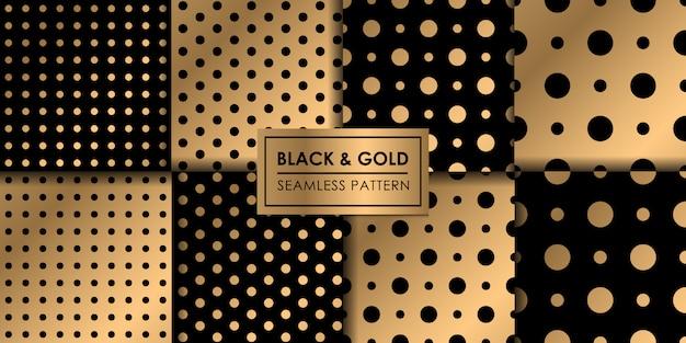 Modello senza cuciture polkadot di lusso nero e oro, carta da parati decorativa.