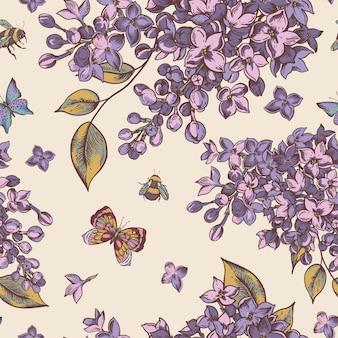 Modello senza cuciture primavera vintage con fiori che sbocciano di lillà