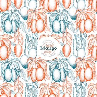 Modello senza cuciture rami di mango. illustrazione di frutta tropicale di vettore disegnato a mano. frutta stile inciso