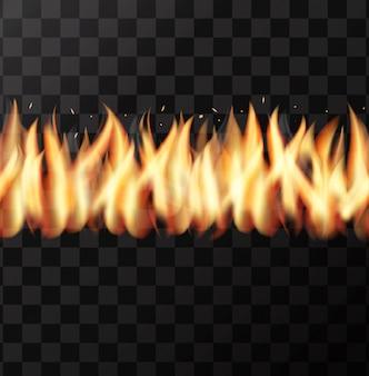 Modello senza cuciture realistico muro di fuoco sullo sfondo trasparente.