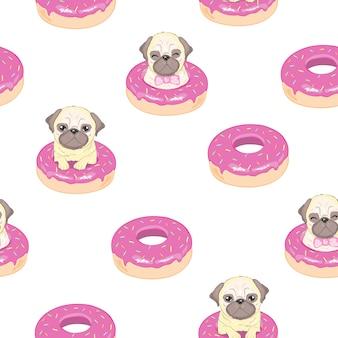 Modello senza cuciture rosa con divertente bulldog francese e ciambella.