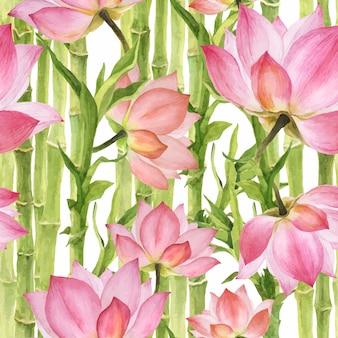 Modello senza cuciture rosa lotus e bambù verde