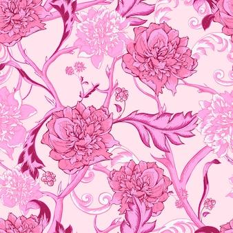 Modello senza cuciture rosa vintage con peonia e ramoscelli