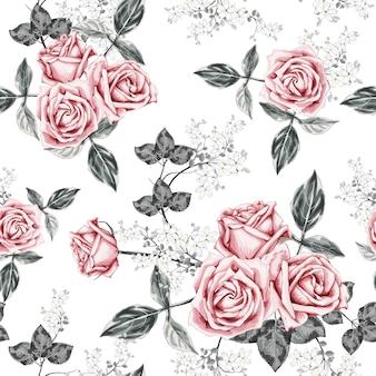 Modello senza cuciture rosa vintage fiori sfondo