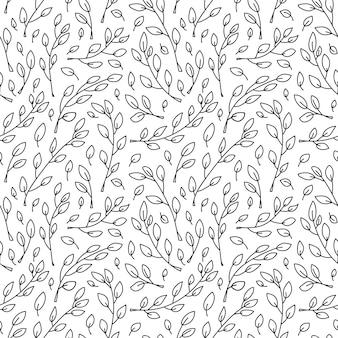 Modello senza cuciture scandinavo monoline minimalista carino con rami di albero di cartone animato