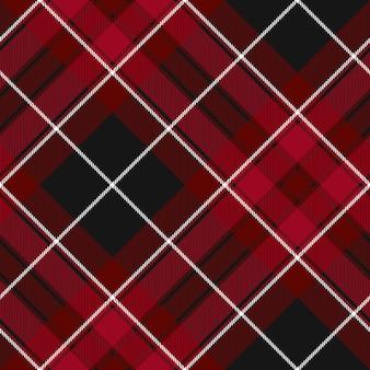 Modello senza cuciture scozzese diagonale rosso e nero trama del tessuto orgoglio del galles
