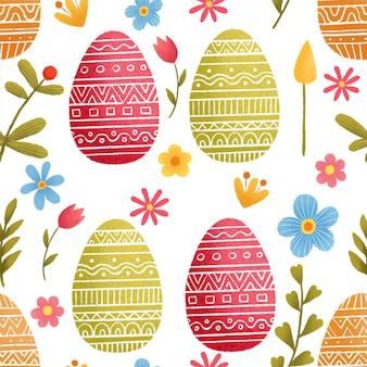 Modello senza cuciture sul tema di pasqua. sfondo primavera di pasqua con fiori e uova.