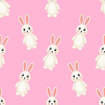 Modello senza cuciture sveglio adorabile dei conigli.