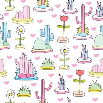 Modello senza cuciture sveglio cactus colorato