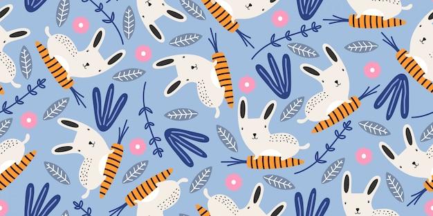 Modello senza cuciture sveglio con conigli e ornamenti botanici