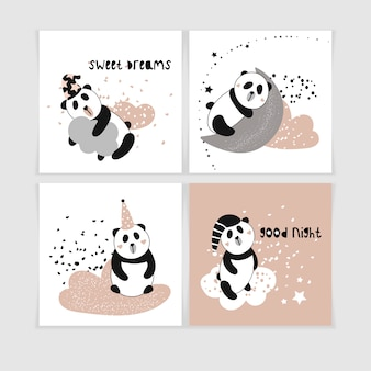 Modello senza cuciture sveglio con i panda sulle nuvole.