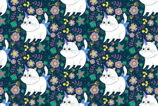 Modello senza cuciture sveglio con unicorno di gatto, piante e fiori.