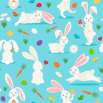 Modello senza cuciture sveglio coniglio bianco. bunny easter
