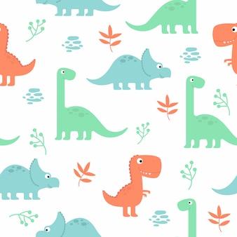 Modello senza cuciture sveglio del dinosauro per carta da parati