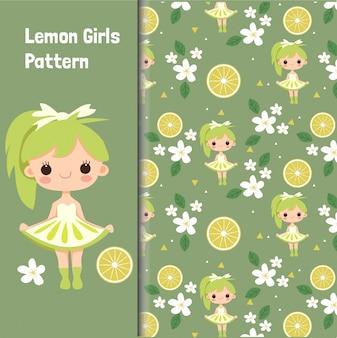 Modello senza cuciture sveglio della ragazza e del limone
