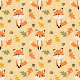 Modello senza cuciture sveglio delle foglie di autunno e della volpe.