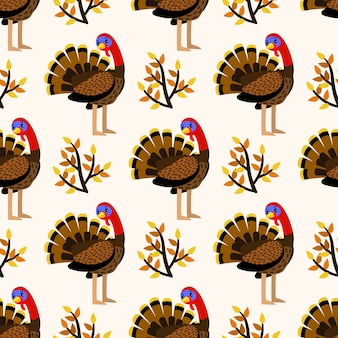 Modello senza cuciture sveglio di autunno con gli uccelli di tacchino