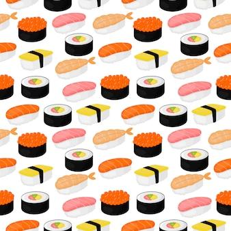 Modello senza cuciture sveglio di sushi e panini. cibo giapponese