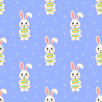 Modello senza cuciture sveglio felice di pasqua di conigli adorabili. coniglio e uovo.