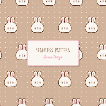 Modello senza cuciture trasparente di simpatici conigli kawaii