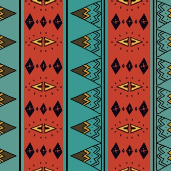Modello senza cuciture tribale con sfondo colorato africano