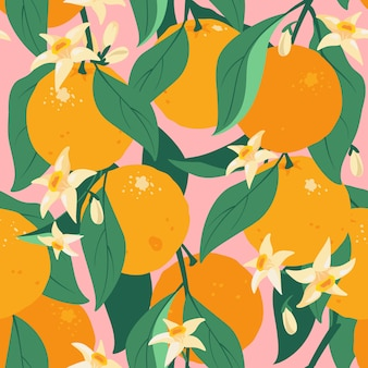 Modello senza cuciture tropicale agrumi estate con foglie e fiori. modello di frutta arancione. stile disegnato disponibile dell'agrume. design del tessuto con arancia sui rami con foglie e fiori.