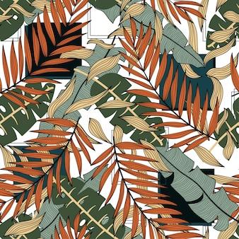 Modello senza cuciture tropicale astratto con foglie e piante colorate