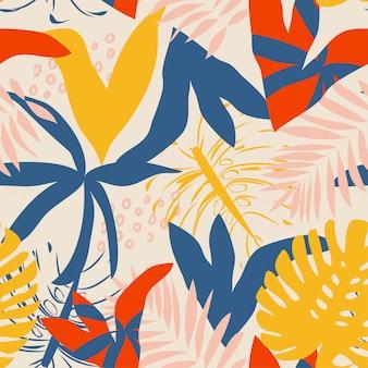 Modello senza cuciture tropicale brillante estate con piante astratte
