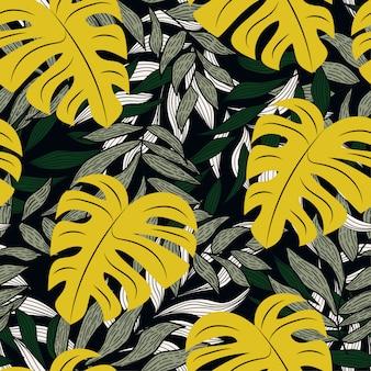 Modello senza cuciture tropicale colorato con piante