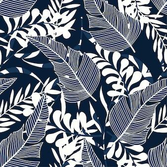 Modello senza cuciture tropicale con piante e foglie luminose