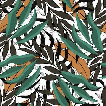 Modello senza cuciture tropicale con piante gialle e verdi