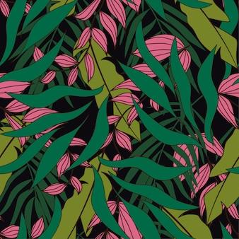 Modello senza cuciture tropicale con piante rosa e verdi su sfondo scuro