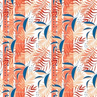 Modello senza cuciture tropicale con strisce e foglie