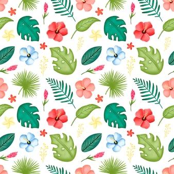 Modello senza cuciture tropicale di foglie e fiori. fiori di ibisco e foglie di palma senza cuciture.