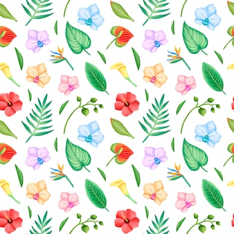 Modello senza cuciture tropicale di foglie e fiori. fiori di ibisco, orchidea e foglie di palma senza cuciture.