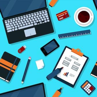 Modello senza cuciture ufficio con elementi di office