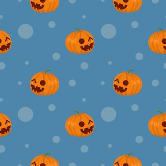 Modello senza cuciture unico dell'acquerello delle zucche di sorriso di halloween