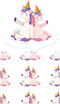 Modello senza cuciture unicorno isolato su bianco