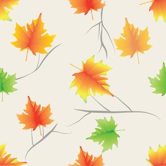 Modello senza cuciture variopinto delle foglie e dei ramoscelli di acero
