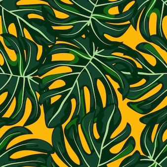 Modello senza cuciture verde foglie tropicali.