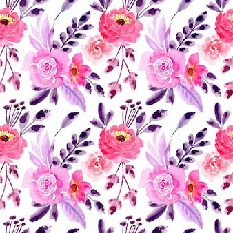 Modello senza cuciture viola rosa con acquerello floreale