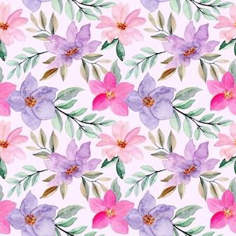 Modello senza cuciture viola rosa con fiore ad acquerello