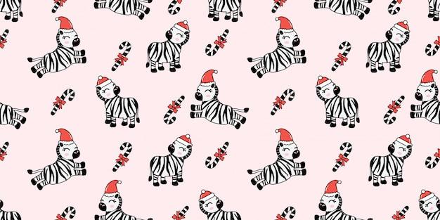 Modello senza cuciture zebra inverno natale carino