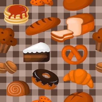 Modello senza saldatura carino panetteria. dolci per caffè o pasticceria. illustrazione vettoriale.