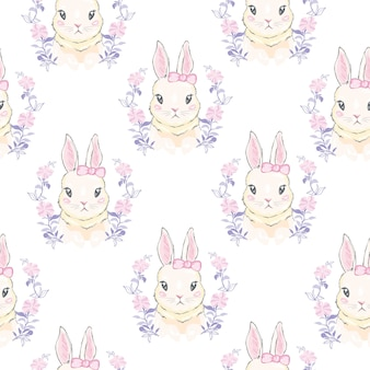 Modello senza saldatura con coniglietto simpatico cartone animato. baby seamless.