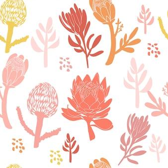 Modello senza saldatura con fiore protea